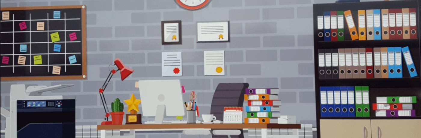 ambiente ufficio con scrivania, folder