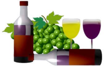 disegnoi grappolo d'uva, bottiglia e bicchieri