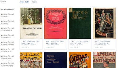 home page del sito EUVS vintage cocktail library