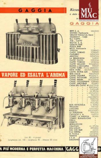 volantino pubblicitario Gaggia Classica 1948