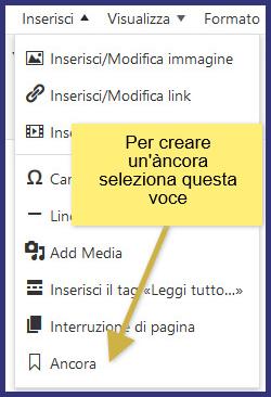 Wordpress, creare un'àncora