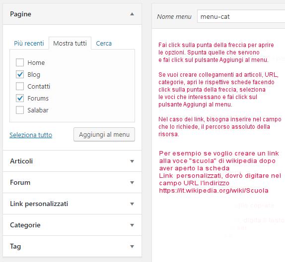 WordPress opzioni struttura menu