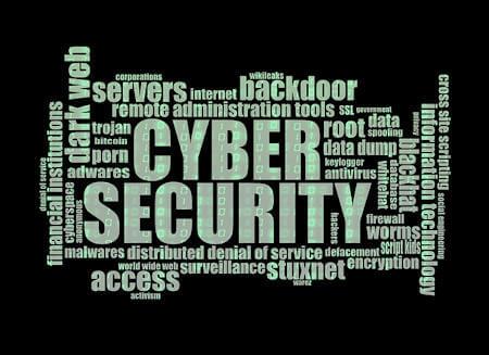 Manifesto con scritte relative alla sicurezza informatica: Cyber Security