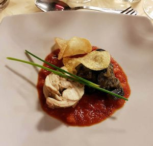 un piatto con il coniglio alla maltese