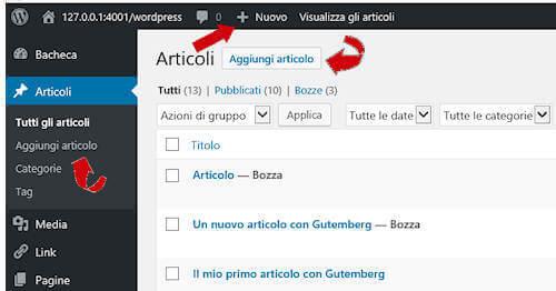 Aggiungi articolo/pagina in wordpress