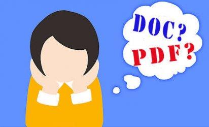 fumetto con nuvola che dice: doc? o pdf?