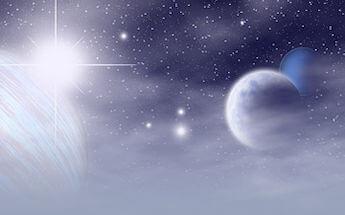 spazio con pianeti blu
