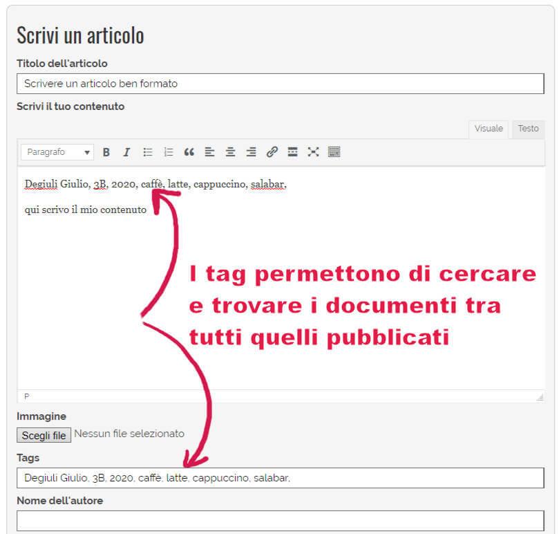 finestra editor scrivere i tag