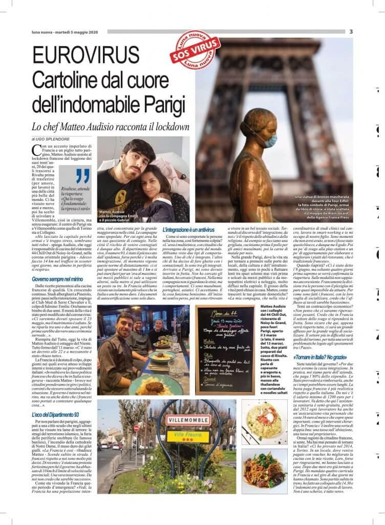 articolo Luna Nuova Ex allievo Matteo Audisio racconta la sua esperienza a parigi durante il periodo coronavirus