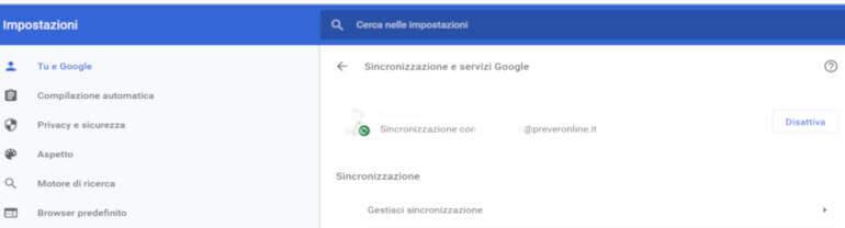 sincronizzazione del browser