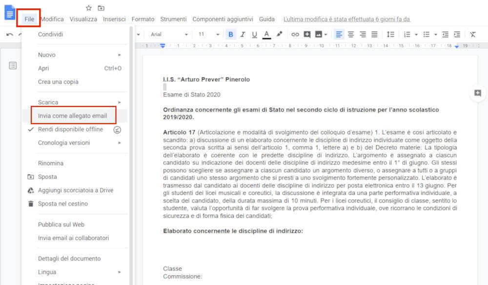 Documenti google - invia come allegato email