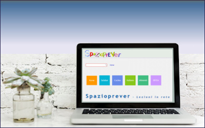 un portatile con la home page di spazioprever